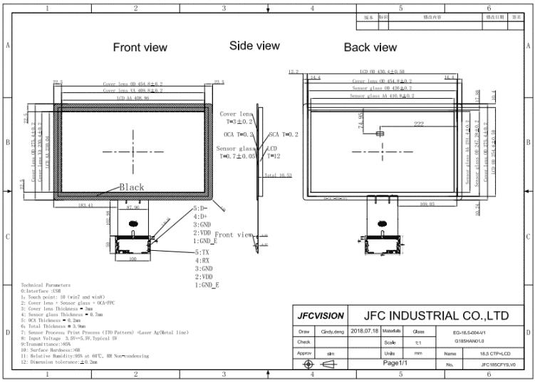 18.4 inch touch screen module