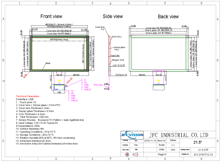 Mechanical Drawings Of 21.5 inch USB Capacitive Touch Screen