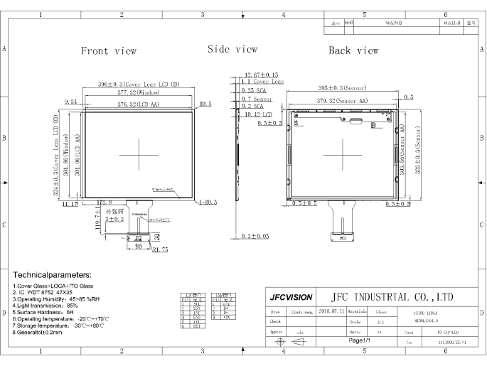 Mechanical Drawings of Projected Capacitive Touchscreen