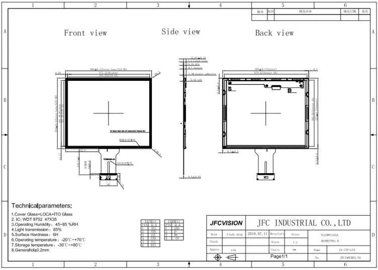 Mechanical Drawings of 19 capacitive touch screen