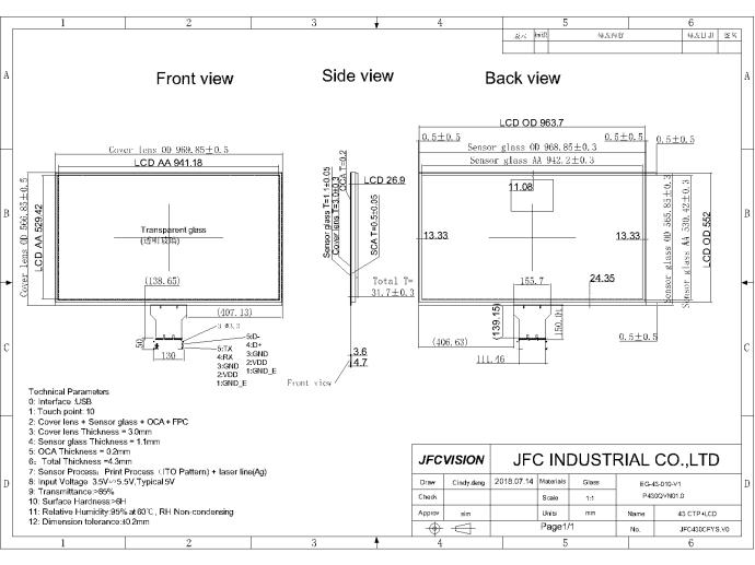 Touch Screen Module Mechanical Drawings