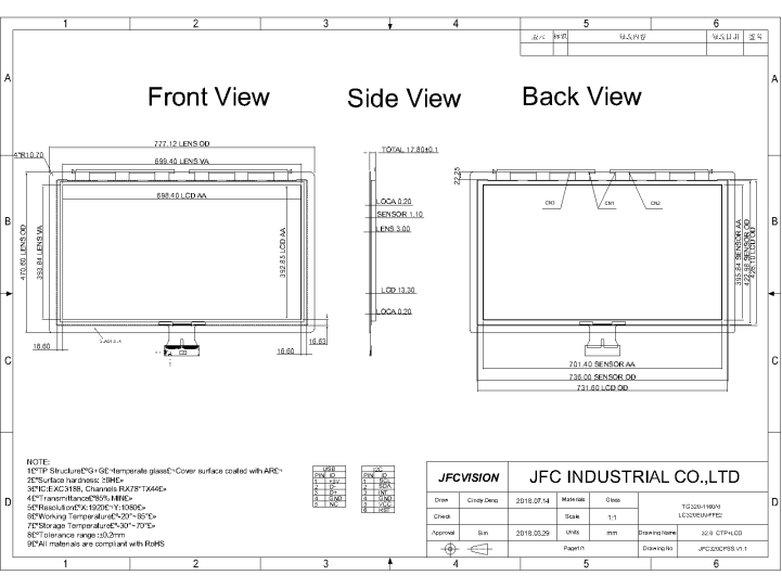Mechanical Drawings of 10 point capacitive touch screen