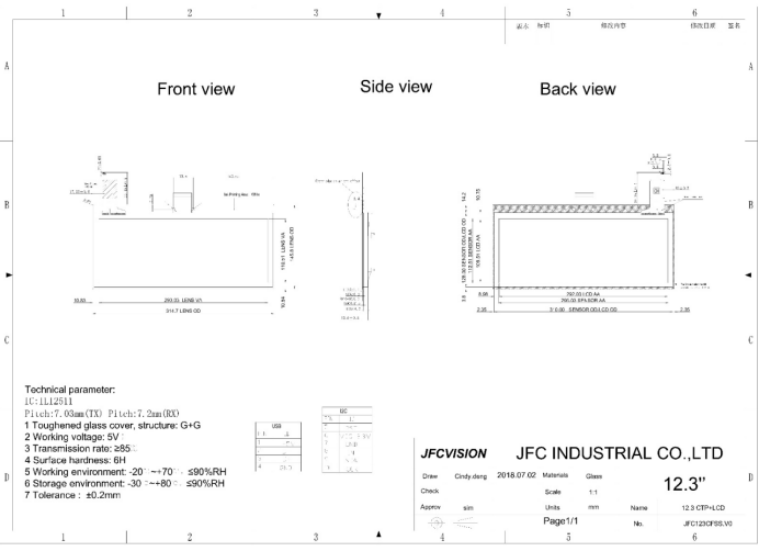 mechanical drawings of industrial touch screen display