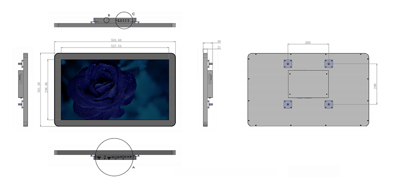 23.8 inch Touch Screen Monitor For Commercal Display