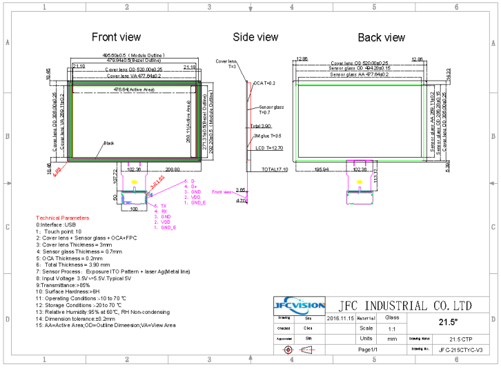 15.6 inch PCAP Touch Panel